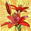Vector illustration of flower red lilies. - 45763436
