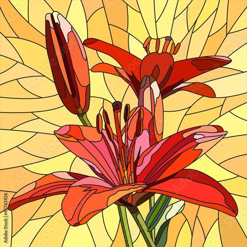 wektorowa-ilustracja-kwiat-czerwone-leluje