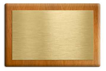 Wooden plaque with golden plate isolated on white. Clipping path