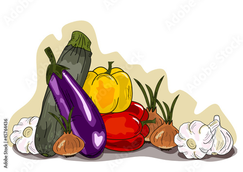 Gemüse, Vegetables  Illustration