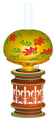 Table lamp stylized as antique kerosene lamp 3D