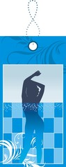 Female silhouette in pool. Discount card