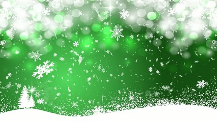 Snowfall - green background