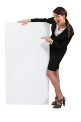 woman with a white board