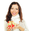 Smiling woman with gift