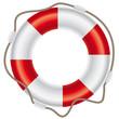 Rettungsring mit Seil auf weißem Hintergrund - 45769078