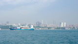 Freight ship sails through the Bosphorus strait