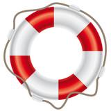 Rettungsring mit Seil auf weißem Hintergrund