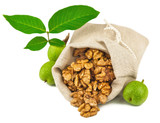 Sack of purified walnut and green walnut fruit poster