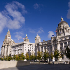 Buildings on the dockside in Liverpool England