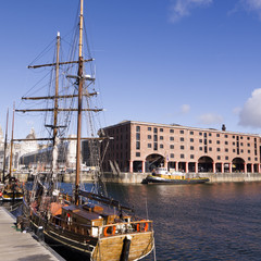 Buildings on the dockside in Liverpool England.