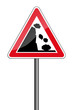 Warnschild RAL 3001 signalrot freigestellt - Steinschlag