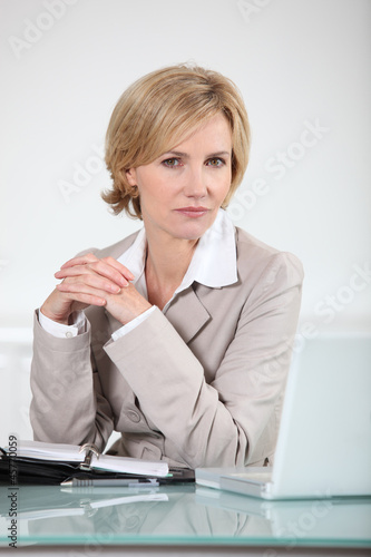 Businesswoman sitting at her laptop with an open diary