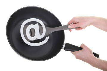 frying pan with an at sign