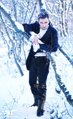 guy in a snowy forest