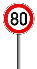Geschwindigkeitsbegrenzung aufgehoben - 80 km/h