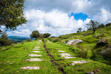 Stone Roadway across Bodmin Moor in the UK