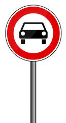 Verbotsschild RAL 3001 signalrot freigestellt - PKW