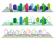 Set of bright horizontal abstract urban icons. Eps10