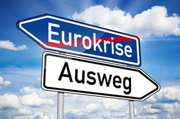 Wegweiser mit Eurokrise und Ausweg