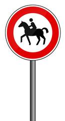 Verbotsschild RAL 3001 signalrot freigestellt - Pferde