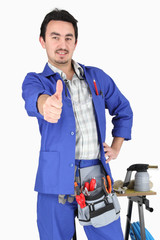Plumber with thumbs up