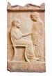Ancient Greek marble grave stele from Piraeus (420 B.C.).
