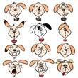 Selection of cartoon dog faces with various expressions