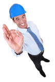 Happy entrepreneur doing OK sign