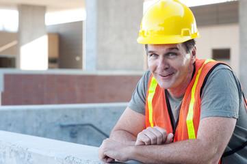 portrait of a mature construction worker outside