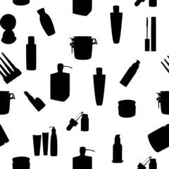Wide range of cosmetic jars seamless pattern vector illustration