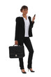Businesswoman with briefcase and mobile