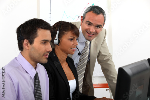 Call-center worker being trained
