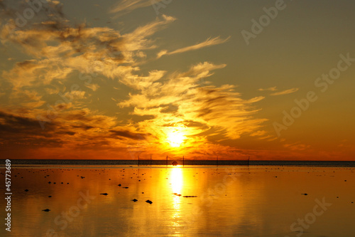 Golden Sunset and White Sea in summer season