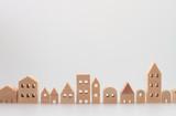 積み木の住宅 家 白バック