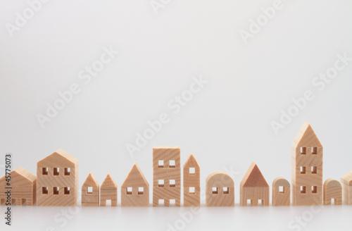 積み木の住宅 家 白バック - 45775073