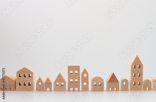 Leinwandbild Motiv 積み木の住宅 家 白バック