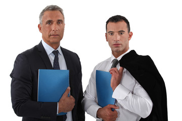 Executives with folders under his arm l