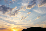 beautiful clouds on air spaces as celestial landscape poster