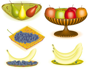 Collection of fruits in vase, wicker baskets and in the dish, 3d