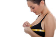 Woman measuring chest size
