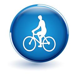 vélo sur bouton bleu