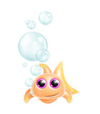 Whimsical Kawaii Cute Goldfish poster