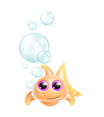 Whimsical Kawaii Cute Goldfish