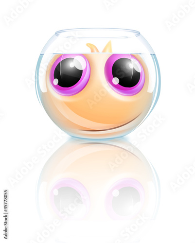 Whimsical Kawaii Cute Goldfish in Fishbowl