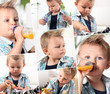 Collage of little boy drinking to baby bottle