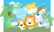 cute vector baby jungle animals
