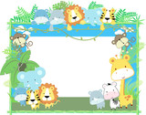 Fototapety baby jungle animals picture frame