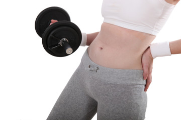 Cropped shot of a woman using a dumbbell