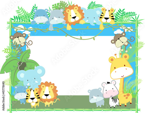 baby jungle animals picture frame